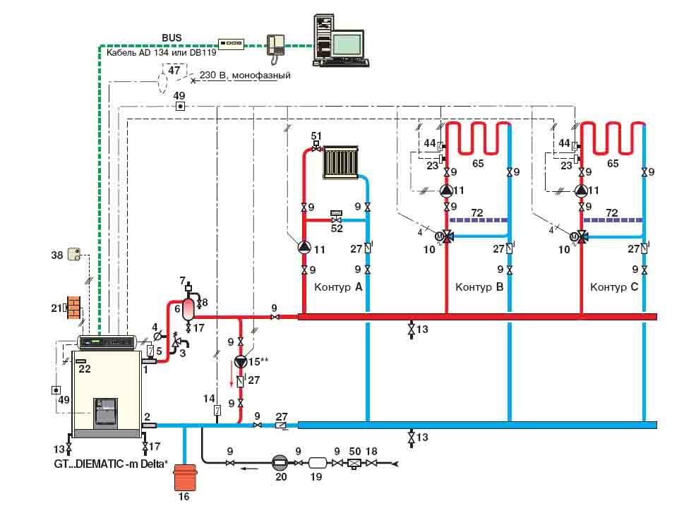 Схема котельной с двумя котлами и теплообменником котел навьен очистка теплообменника