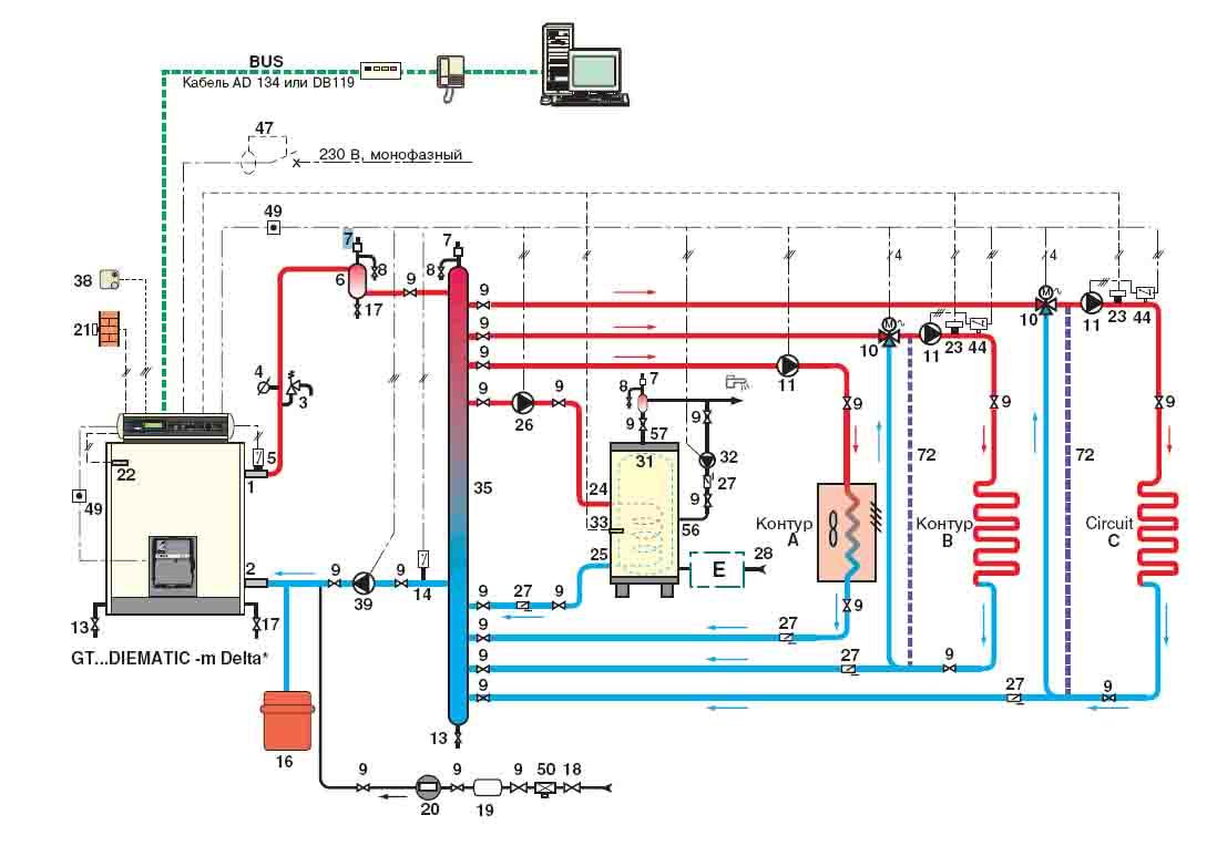 твердотопливный и дизельный котел схема обвязки
